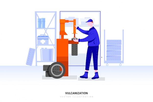 Ремонт шин на автомате для ремонта резиновых вулканизаторов