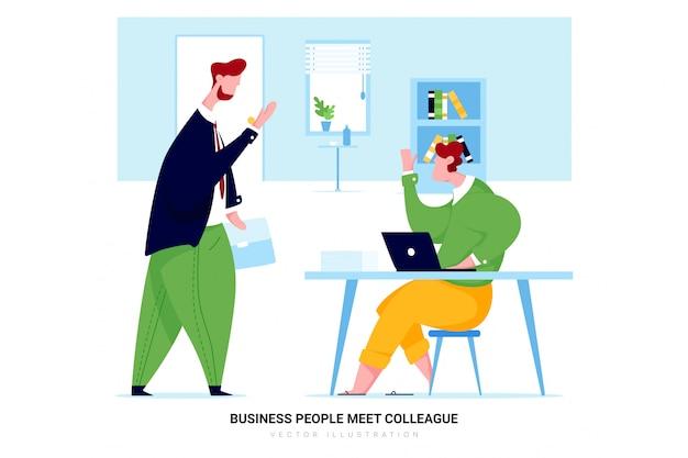ビジネスの人々は同僚に会います