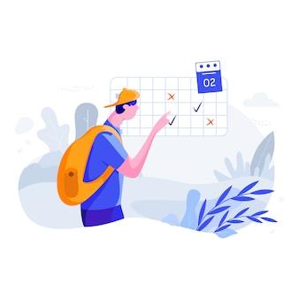 Запланируйте поездку - путешествуйте плоская концепция иллюстрации