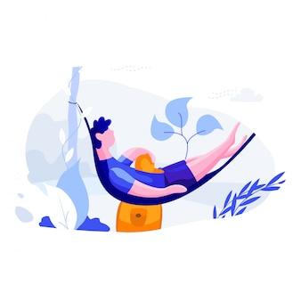 Приятного путешествия - путешествуйте по плоской иллюстрации