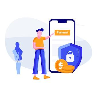安全な支払い-オンラインバンキングのコンセプト