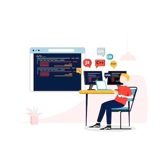 Иллюстрация разработки программного обеспечения в плоском стиле