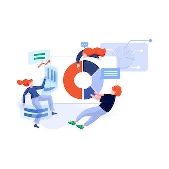 Иллюстрация команды анализа данных в плоском стиле