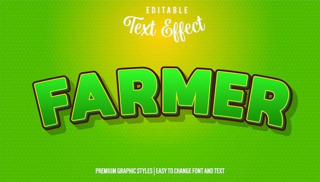 Фермер, мультяшный стиль редактируемый текстовый эффект