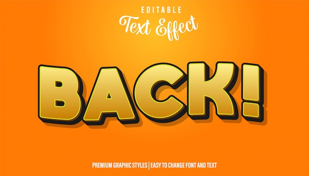 Назад, желтый мультяшный стиль редактируемый текстовый эффект