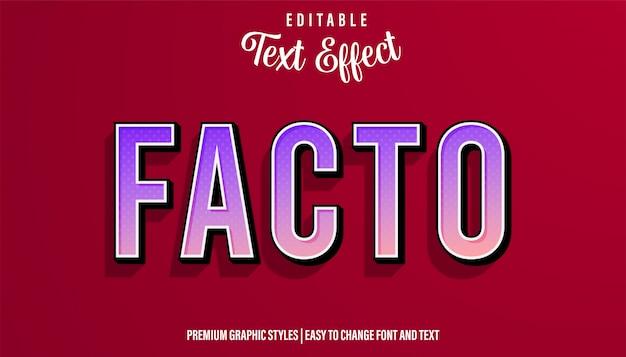Факто современный градиентный стиль редактируемый текстовый эффект