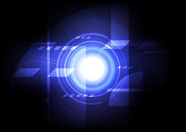 工学メカニックの抽象的な背景、デジタルテクノロジーコンピューターオンライン通信、青いエネルギーパワーホログラム