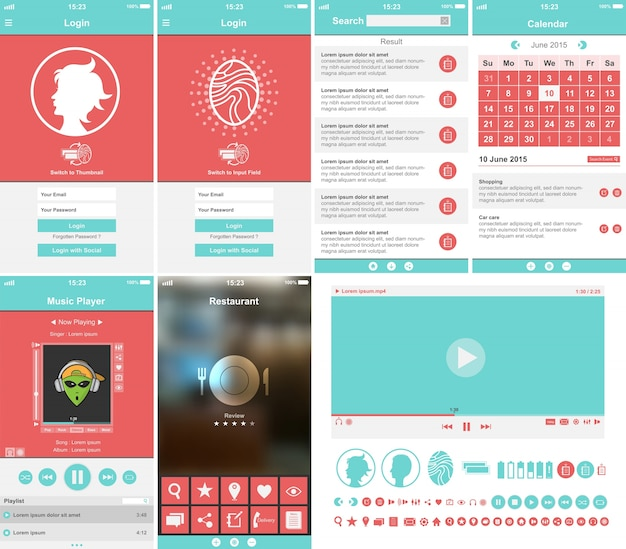 Коллекция шаблонов мобильных приложений
