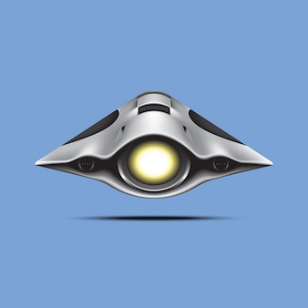 Космический корабль на синем фоне