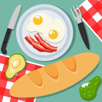 卵、ベーコンのプレート