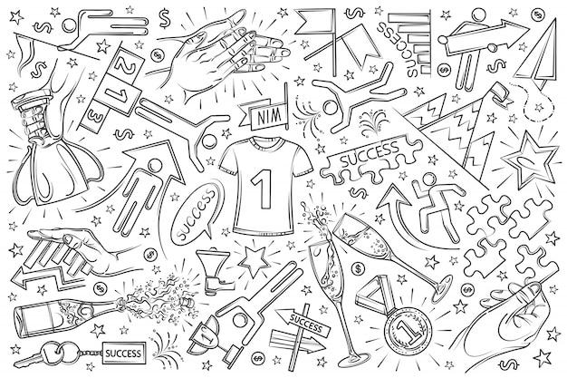 手描きの成功セット落書き背景