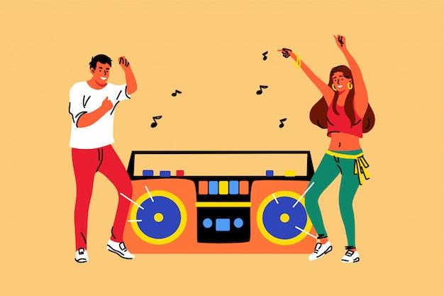 Музыка, танцы, стиль жизни, отдых, дружба, концепция вечеринки