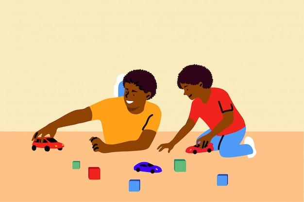 Игра, отцовство, детство, семья, концепция отдыха