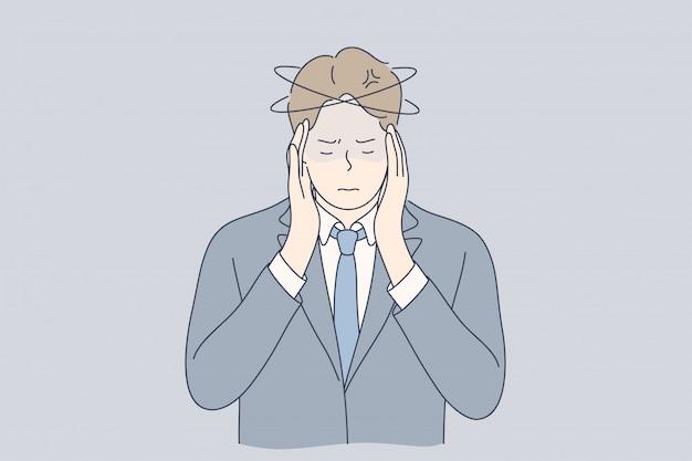 精神的ストレス、ビジネス、痛み、うつ病、欲求不満、思考の概念