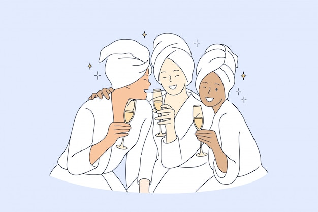 Дружба, красота, вечеринка, отдых, напиток, концепция праздника