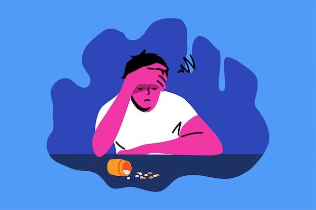 欲求不満、うつ病、薬物、中毒、精神的ストレスの概念。