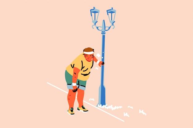 スポーツ、陸上競技、疲労、ジョギング、太りすぎ、呼吸困難のコンセプト