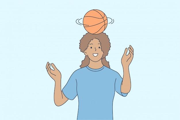 Баскетбол, спорт, отдых, летнее время концепции.