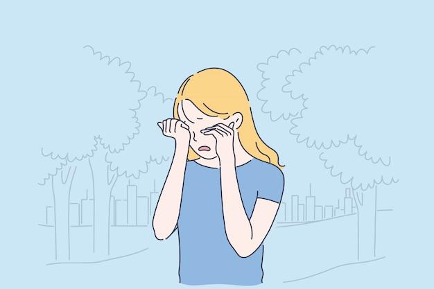 うつ病、欲求不満、孤独の漫画コンセプト