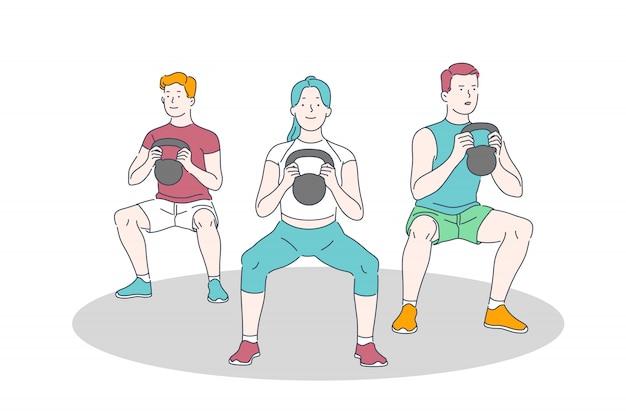 ジムのトレーニング、トレーニング、重量挙げ運動、身体活動、健康的なライフスタイルのコンセプト