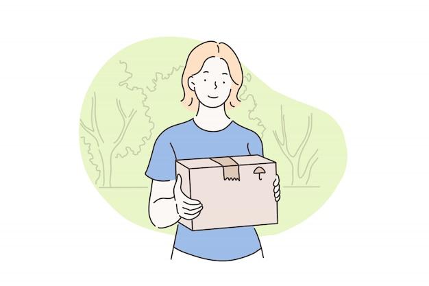 郵便配達、配送、配送、宅配便のコンセプト