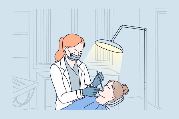 Осмотр зубов и стоматологический осмотр.