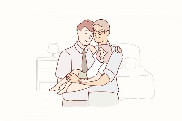 Прекрасная веселая семья. двое взрослых мужчин и маленький ребенок стоял вместе в комнате дома.