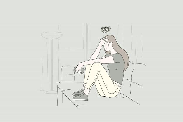 Концепция молодой расстроенной женщины.