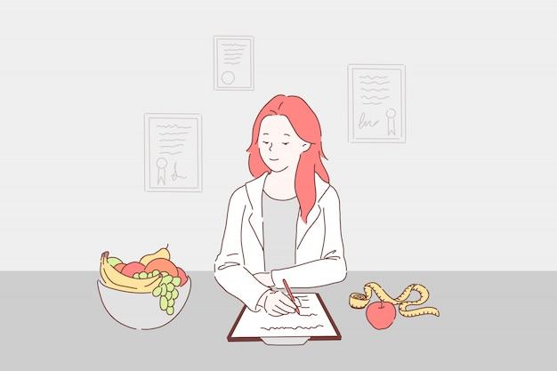Сбалансированная диета для концепции контроля веса