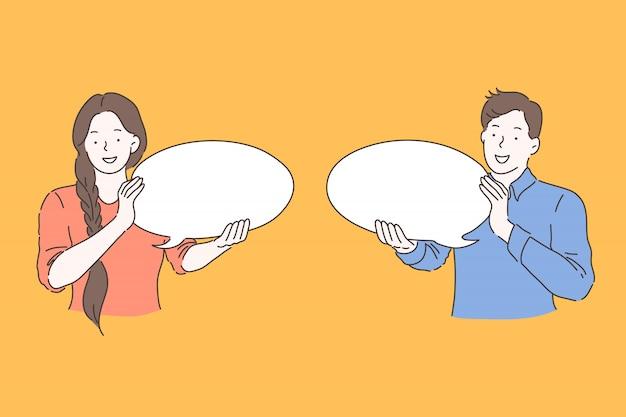 Речи пузырь, реклама, концепция коммуникации
