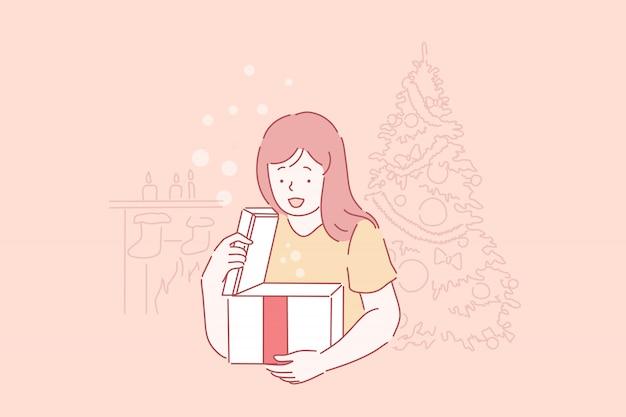 驚きで小さな子供を興奮させ、子供は新年の贈り物を取得します。お祭りプレゼント、クリスマス休暇のお祝い、冬の伝統を開梱する幸せな女の子。シンプルフラット
