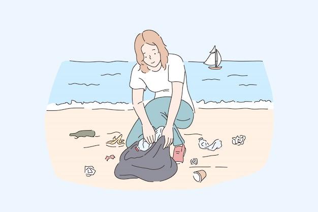 女性ボランティアがビーチを掃除し、惑星と自然保護を救います。若い女性がプラスチックの使い捨てボトルを収集し、海岸で廃棄物やゴミを拾います。シンプルフラット