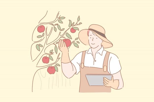 庭師がリンゴを収穫します。男性の農民が赤い熟した果物、果樹園労働者、有機農産物の品質を分析する農学者、農業産業の季節作業をチェックします。シンプルフラット