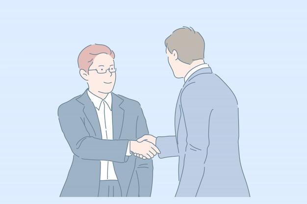 Рукопожатие, партнерство, сделка. молодые бизнесмены или партнеры пожимают друг другу руки. улыбающиеся деловые люди подписывают контракт. простая квартира