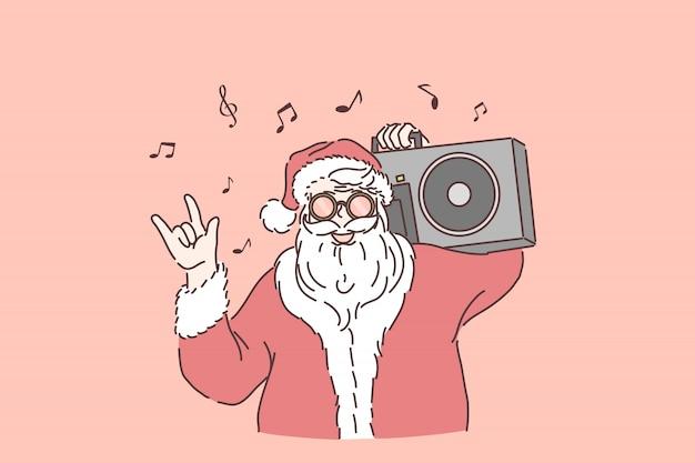 冬の休日のお祝い。スタイリッシュなサンタクロース、肩にラジカセ、音楽を聴くサンタ、ロックンロールジェスチャー、新年、クリスマスパーティーを表示します。シンプルフラット