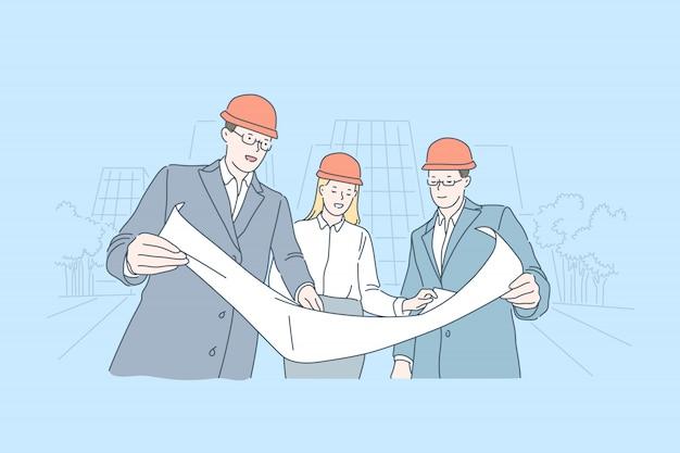 産業ビジネス、建築建設ドラフトチェックコンセプト