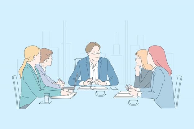 ビジネス、チームワーク、一緒に、会議のコンセプト
