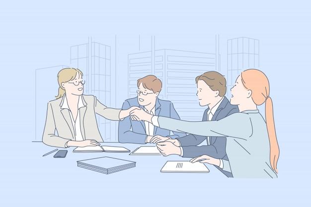 Бизнес, работа в команде, переговоры, концепция соглашения.