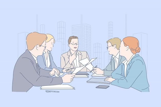Работа в команде, встреча, сотрудничество, бизнес-концепция.