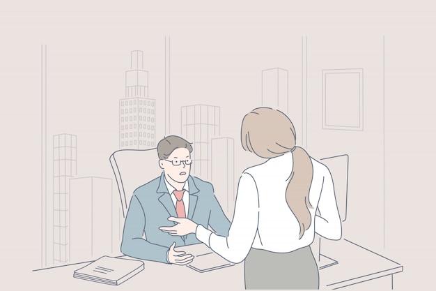ビジネス、管理、リーダーシップ、却下のコンセプト。