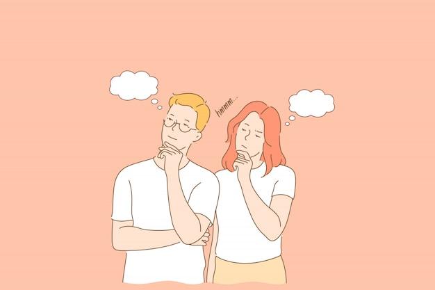 思いやりのある、物思いにふけるカップル