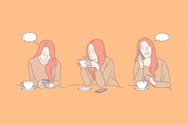 スマートフォンとティーカップ、コーヒーブレークのイラストを持つ若い女性