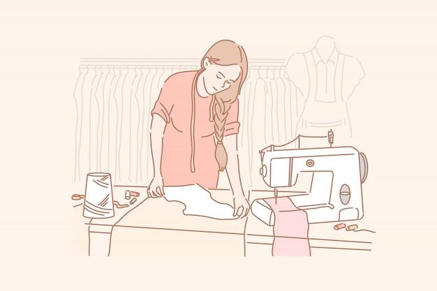 Портной, пошив одежды, концепция шитья