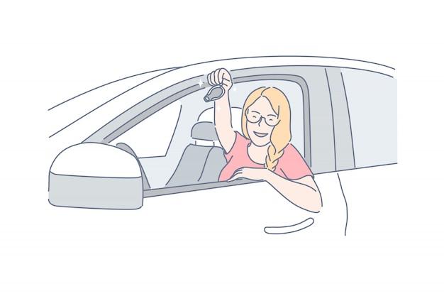 Автомобиль, покупка, проезд, концепция вождения
