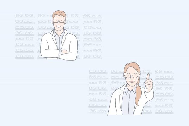 光学ストア、眼科医、目の健康セットコンセプト