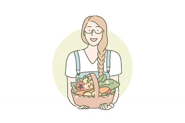 Сбор урожая, фермер, эко веганская еда концепция