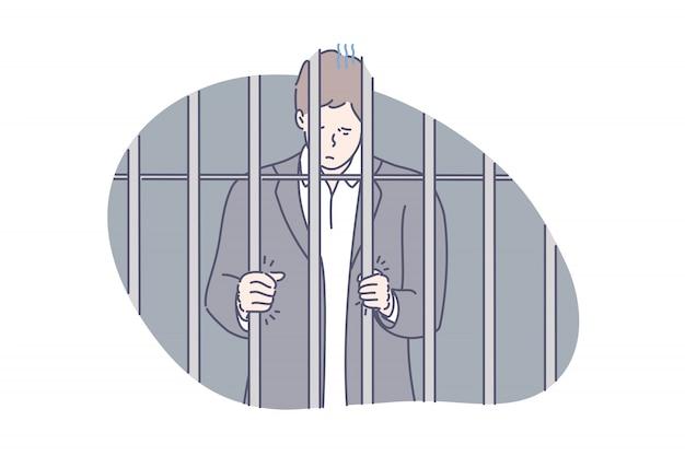 刑務所、囚人、詐欺の概念