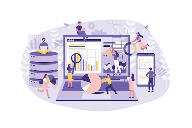 Бизнес-концепция анализ данных, работа в команде. группа клерков ведет статистику в интернете. коллективное выполнение заданий в офисе.