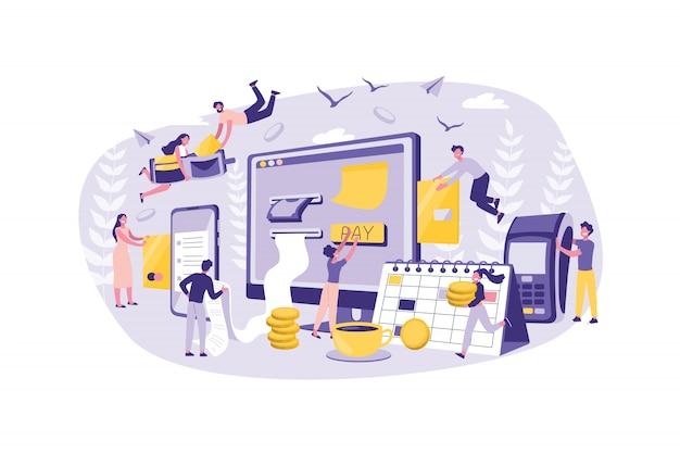 Бизнес-концепция онлайн-платежей, счета. группа клерков улучшает работу денежных переводов. совместная работа бизнесменов в офисе