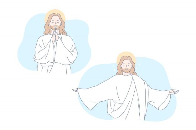 イエス、聖書、キリスト教、祈りセットコンセプト